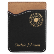 Black & Gold Leatherette Cell Phone Wallet
