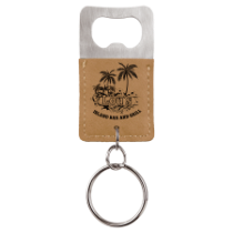 Light Brown Leatherette Rectangle Bottle Opener Keychain