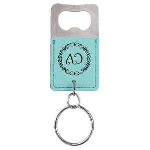 Teal Leatherette Rectangle Bottle Opener Keychain