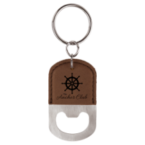 Dark Brown Leatherette Oval Bottle Opener Keychain