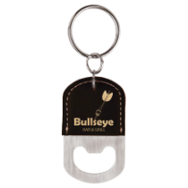 Black & Gold Leatherette Oval Bottle Opener Keychain
