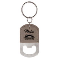 Gray Leatherette Oval Bottle Opener Keychain