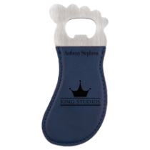 Blue Leatherette Foot Shaped Magnetic Bottle Opener