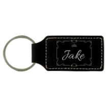 Black & Silver Leatherette Rectangle Keychain