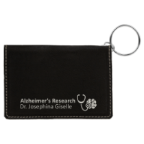 Black & Silver Leatherette ID Holder with Keychain