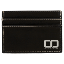 Black & Silver Leatherette Wallet Clip