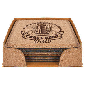 Square Cork Leatherette 6-Coaster Set
