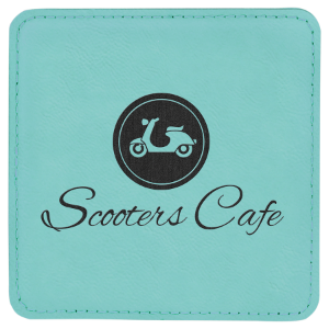 Teal Laserable Leatherette Square Coaster