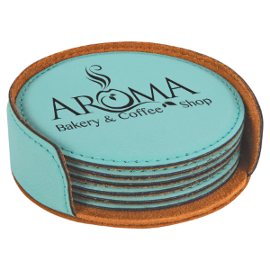 Round Teal Leatherette 6-Coaster Set