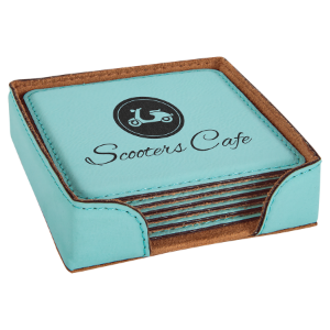 Square Teal Leatherette 6-Coaster Set
