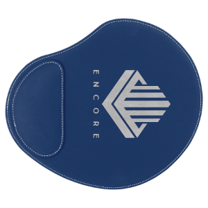 Blue Silver Laserable Leatherette Mouse Pad