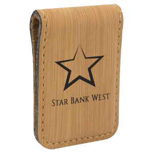 Bamboo Lasered Leatherette Money Clip
