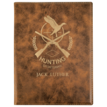 Small Rustic & Gold Leatherette Portfolio with Notepad