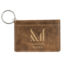 Rustic & Gold Leatherette ID Holder with Keychain