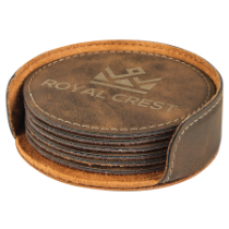 Round Rustic & Gold Leatherette 6-Coaster Set