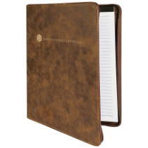 Rustic & Gold Leatherette Portfolio with Zipper & Notepad