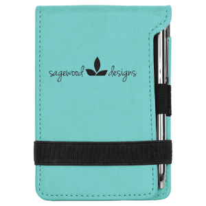 Teal Leatherette Mini Pad with Pen