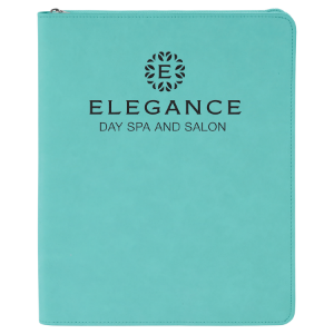 Teal Leatherette Portfolio with Zipper & Notepad