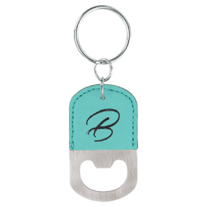 Teal Leatherette Oval Bottle Opener Keychain