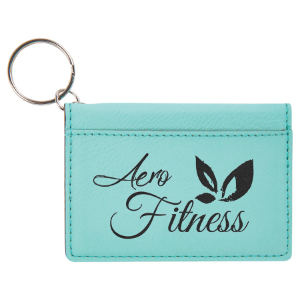 Teal Leatherette ID Holder with Keychain