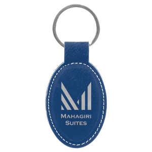 Blue/Silver Leatherette Oval Keychain