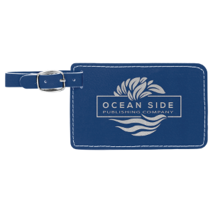 Blue/Silver Leatherette Luggage Tag