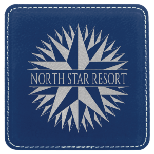 Blue/Silver Square Leatherette Coaster
