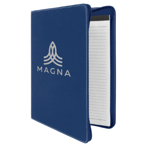 Blue/Silver Leatherette Portfolio with Zipper and Notepad