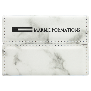 White Marble Leatherette Hard Card Case with Magnetic Closure