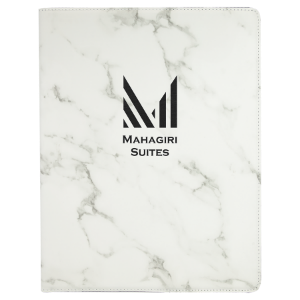 White Marble Leatherette Portfolio with Notepad