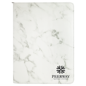 White Marble Leatherette Portfolio with Zipper & Notepad