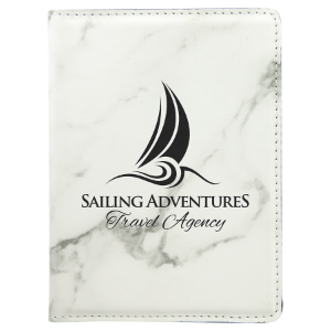 White Marble Leatherette Passport Holder