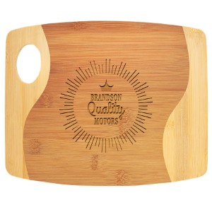 Bamboo Two Tone Cutting Board with Handle