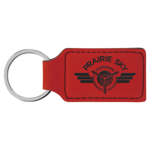 Red Laserable Leatherette Rectangle Keychain