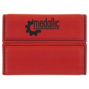 Red Laserable Leatherette Hard Business Card Holder