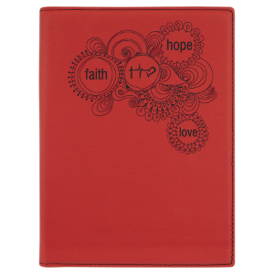 Red Laserable Leatherette Portfolio with Notepad