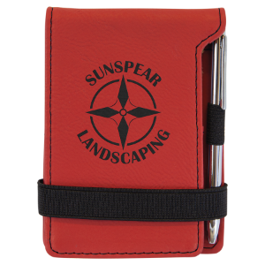 Red Laserable Leatherette Mini Notepad with Pen