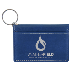 Blue/Silver Laserable Leatherette Keychain ID Holder