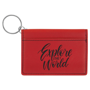 Red Laserable Leatherette Keychain ID Holder