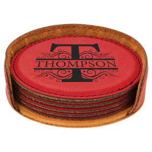 Red Laserable Leatherette Round 6-Coaster Set