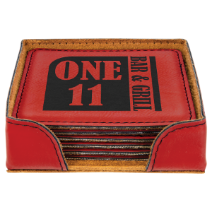 Red Square Laserable Leatherette 6-Coaster Set with Holder