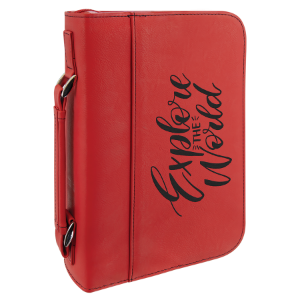 Red Leatherette Book/Bible Cover with Handle and Zipper