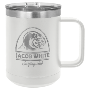 White 15 oz. Polar Camel Coffee Mug with Slider Lid