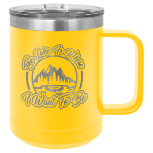 Yellow 15 oz Polar Camel Coffee Mug with Slider Lid