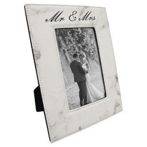 White Marble 4 x 6 Leatherette Photo Frame