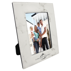 White Marble 5 x 7 Leatherette Photo Frame