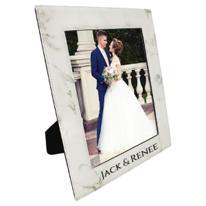 White Marble 8 x 10 Leatherette Photo Frame