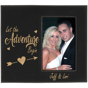 Black/Gold 4 x 6 Leatherette Photo Frame with Engraving Area
