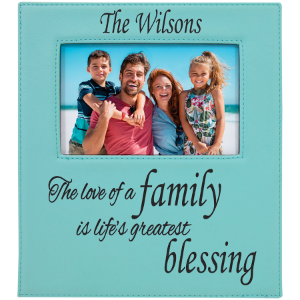 Teal 4 x 6 Leatherette Photo Frame with Engraving Area