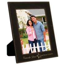 8 x 10 Black & Gold Leatherette Photo Frame